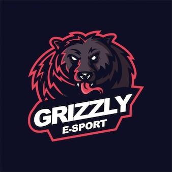 Grizzly e-sport gaming maskottchen logo vorlage