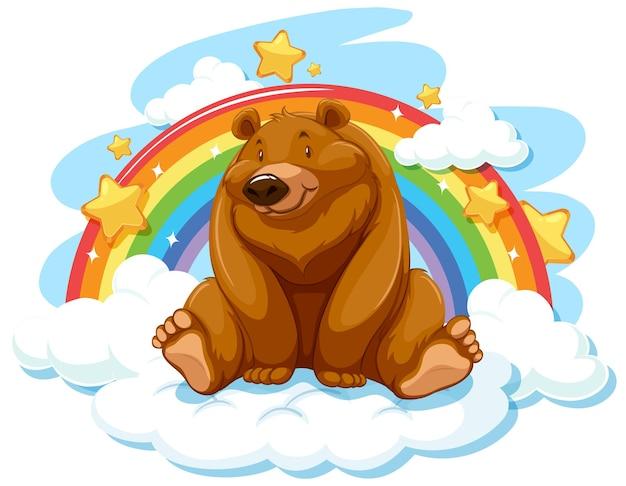 Grizzlybär auf der wolke mit regenbogen