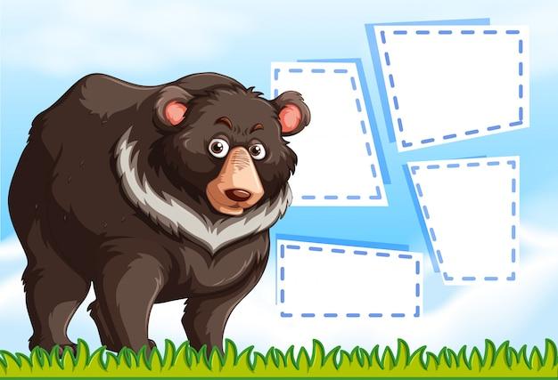 Grizzlybär auf notizschablone