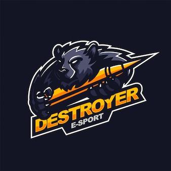 Grizzlybär hält kugel e-sport gaming maskottchen logo vorlage