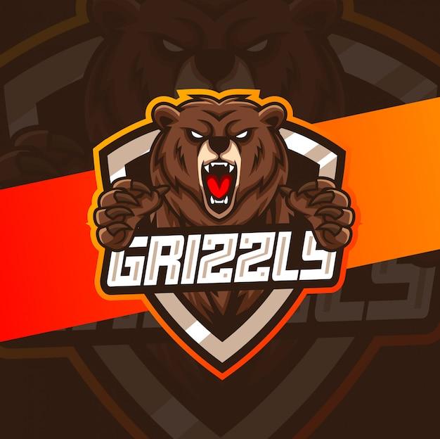 Grizzlybär maskottchen esport logo design