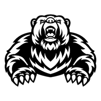 Grizzlybär maskottchen logo schwarz und weiß
