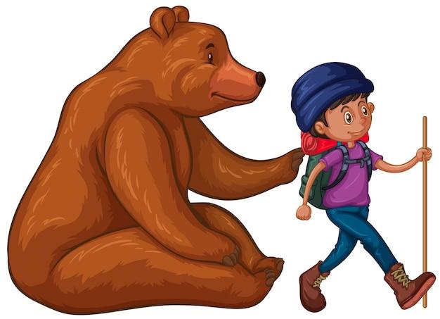 Grizzlybär und wanderer mit rucksack
