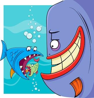 Größere fische, die karikaturillustration sagen