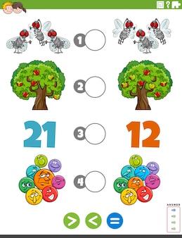 Größere weniger oder gleiche aufgabe für kinder