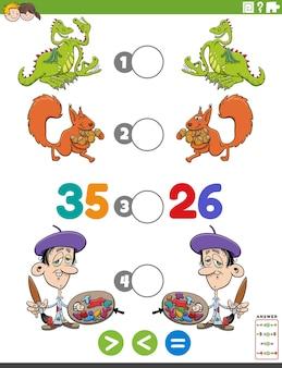Größere weniger oder gleiche cartoon-aufgabe für kinder