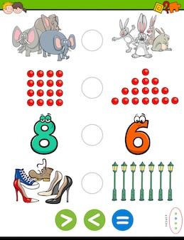 Größeres weniger oder gleichwertiges pädagogisches puzzle für kinder