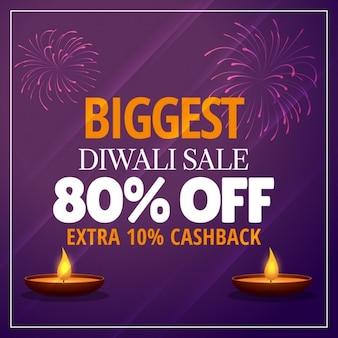Größte diwali verkaufsangebot mit diya und feuerwerk