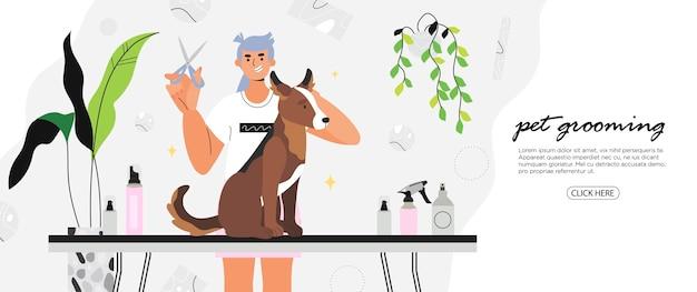 Groomer, der haarschnitt für einen hund mit umweltfreundlicher kosmetik tut.