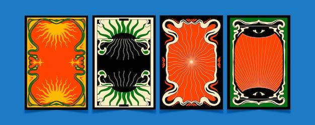 Grooviger rahmen im psychedelischen stil
