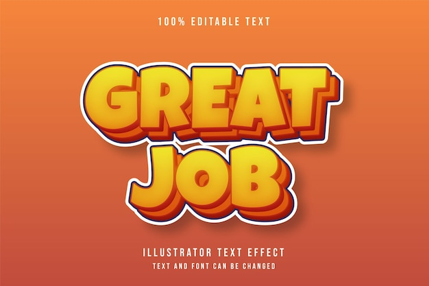 Großartige arbeit, 3d bearbeitbarer texteffekt gelber abstufungsorange-comic-effekt
