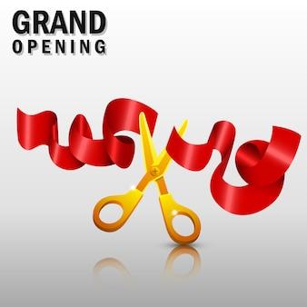 Großartige öffnung mit roten band- und goldscheren