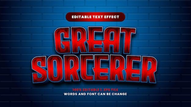 Großartiger bearbeitbarer texteffekt für zauberer im modernen 3d-stil