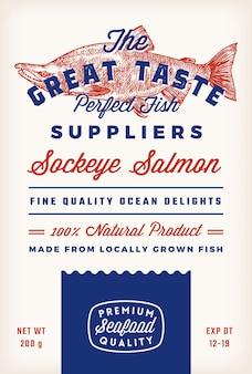 Großartiger geschmack fischlieferanten abstrakter vektor rustikales verpackungsetikettendesign retro-typografie und handd...