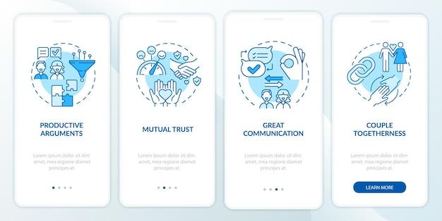 Großartiger kommunikations-onboarding-bildschirm für die mobile app-seite. paarzusammengehörigkeit walkthrough 4 schritte grafische anweisungen mit konzepten. ui-, ux-, gui-vektorvorlage mit linearen farbillustrationen