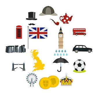 Großbritannien-ikonen eingestellt, flache art Premium Vektoren