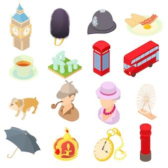 Großbritannien-ikonen eingestellt in isometrische art 3d