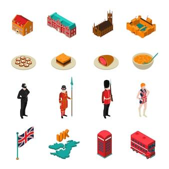 Großbritannien isometrisches touristisches set