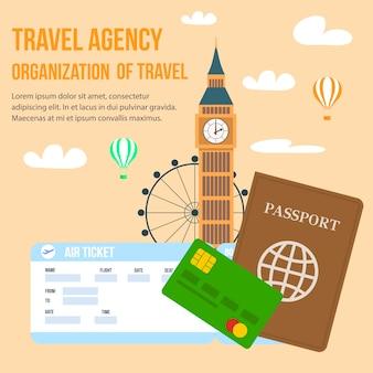 Großbritannien-reise-vektor-plakat mit beschriftung.