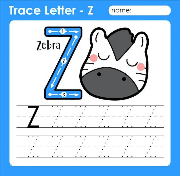 Großbuchstabe buchstabe z - arbeitsblatt zur verfolgung von alphabetbuchstaben mit zebra