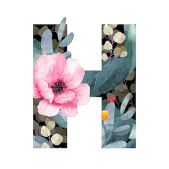 Großbuchstabe h blumenstil. mit blüten und blättern von pflanzen.