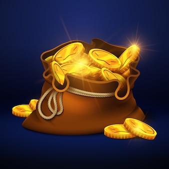 Große alte tasche der karikatur mit goldmünzen