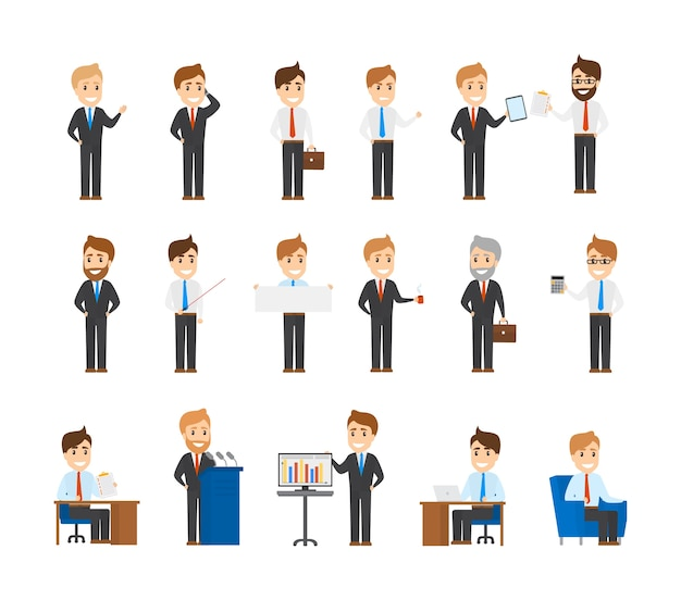 Große anzahl von geschäftscharakteren. sammlung von beschäftigten büroangestellten in verschiedenen situationen. männer sitzen am schreibtisch, machen präsentation und machen eine pause. illustration