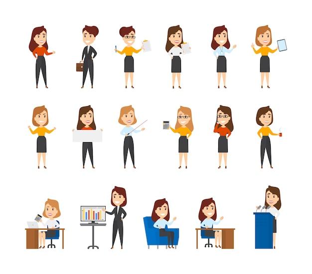 Große anzahl von geschäftscharakteren. sammlung von beschäftigten weiblichen büroangestellten in verschiedenen situationen. frauen sitzen am schreibtisch, machen präsentation und machen eine pause. illustration