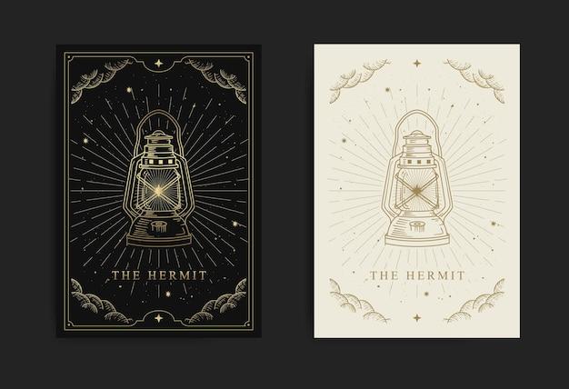 Große arcana-karte mit einem laternenbild, das den einsiedler symbolisiert, mit gravur, luxus, esoterik, boho, spirituell, geometrisch, astrologie, magischen themen, für tarot-leserkarte. premium-vektor