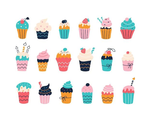 Große auswahl an bunten cupcakes auf weißem hintergrund im stil flacher kritzeleien