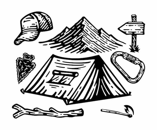 Große auswahl an campingelementen. gekritzel vintage illustration.