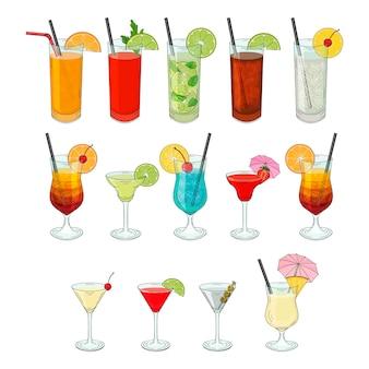 Große auswahl an cocktails. handgezeichnete isolierte objekte.