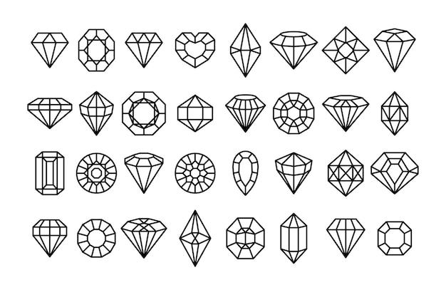 Große auswahl an edelsteinsymbolen in einem linearen minimalistischen stil. vektordiamanten und edelsteine lineare logo-designelemente. linie mit bearbeitbarem strich