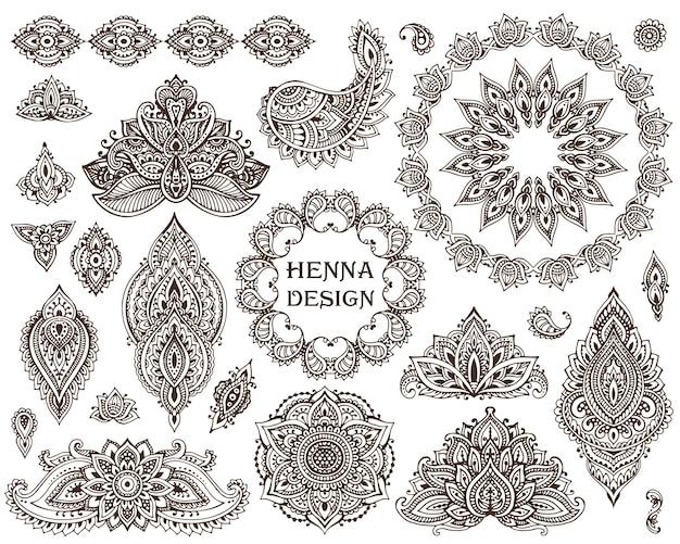 Große auswahl an floralen henna-elementen und rahmen, die auf traditionellen asiatischen ornamenten basieren