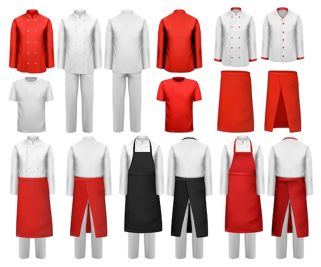 Große auswahl an kulinarischer kleidung, weißen und roten anzügen und schürzen. vektor.