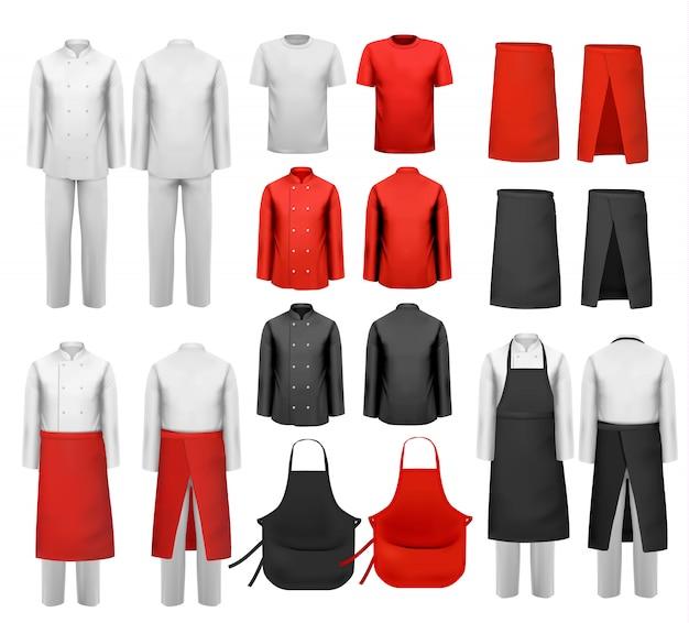 Große auswahl an kulinarischer kleidung, weißen und roten anzügen und schürzen. .