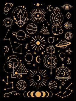 Große auswahl an magischen und astrologischen symbolen
