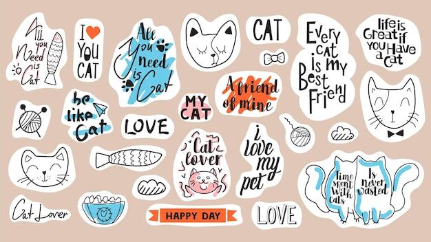 Große auswahl an motivationsphrasen, zitaten und aufklebern. themenset der katze