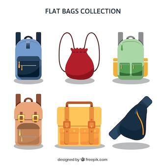 Große auswahl an rucksäcken in flachen stil