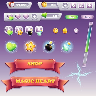 Große auswahl an schnittstellenelementen für computerspiele und webdesign