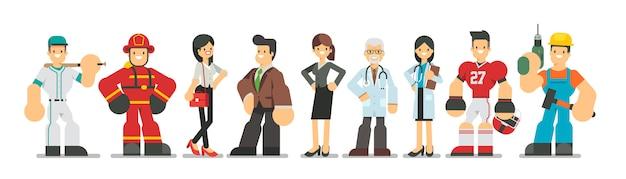 Große auswahl an verschiedenen berufscharakteren im flachen stil. männer und frauen verschiedener karrieren und berufe stehen zusammen, illustration.