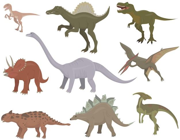 Große auswahl an verschiedenen dinosauriern. pflanzenfressende und fleischfressende jurassische reptilien.
