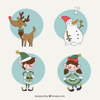 Große auswahl von handgezeichneten zeichen für weihnachten