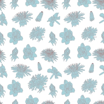 Große blaue blüte vintage line art nahtlose blumenmuster