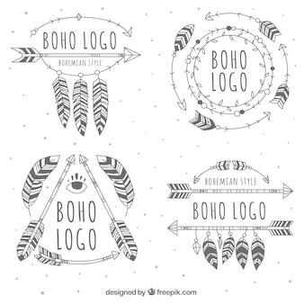 Große boho logos mit verschiedenen designs