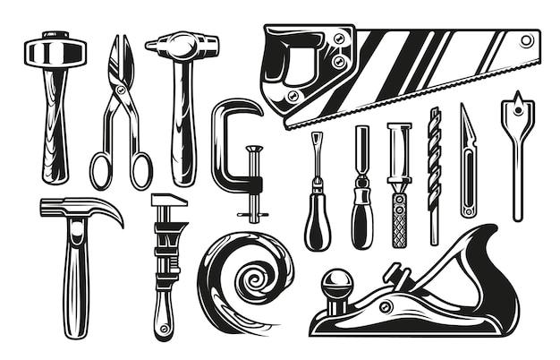 Große bündelvektorillustrationen für das thema tischlerwerkzeuge auf weißem hintergrund