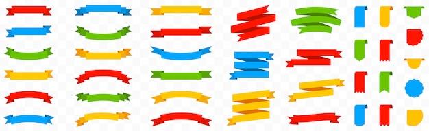 Große bunte satzbandfahnen auf lokalisiertem hintergrund. farbbandelemente. sammlung von etiketten, etiketten und qualitätsabzeichen. einfache bänder gesetzt. rotes, grünes, blaues und gelbes banner. flacher stil