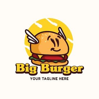 Große burger-logo-maskottchen-illustration