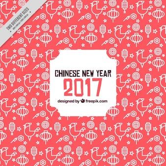 Große chinesische neujahr hintergrund mit laternen und hähnen