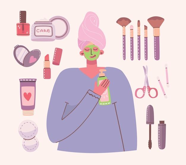 Große collage aus kosmetika und körperpflegeprodukten zum schminken.